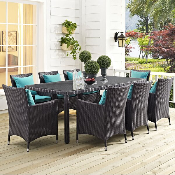 Brentwood 9 Piece Dining Set with Cushions by Sol 72 Outdoor