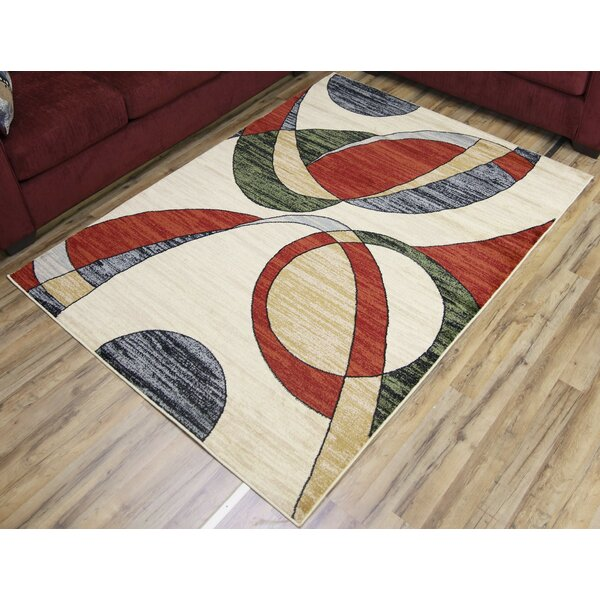Passion Cream/Red Area Rug by Beyan Signature