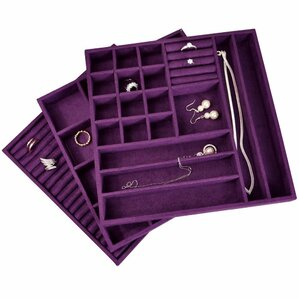 3 Piece Stackable Suede Jewelry Tray Set by Ikee Design