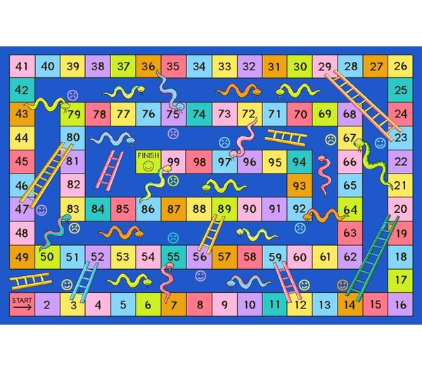 Fun Time Snakes and Ladders Kids Rug by Fun Rugs
