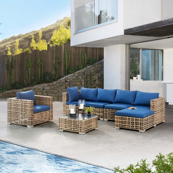 Eulalie 5 Piece Rattan Sectional Seating Group with Cushions by Bayou Breeze