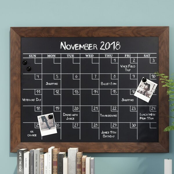 Framed Monthly Calendar Magnetic Wall Mounted Chalkboard