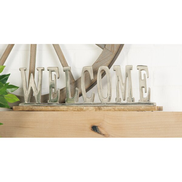 Aluminum Wood Welcome Letter Block by Cole & Grey