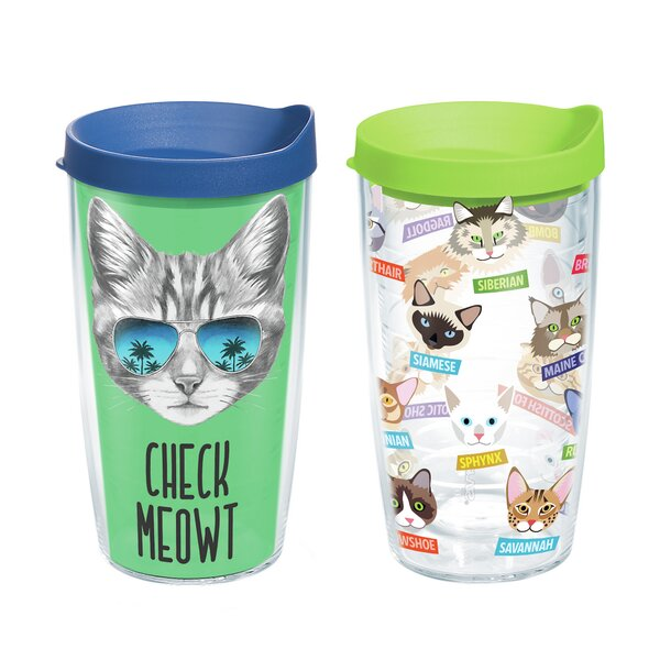 Check Meowt and Cat Art 2 Piece 16 oz. Plastic Travel Tumbler Set by Tervis Tumbler
