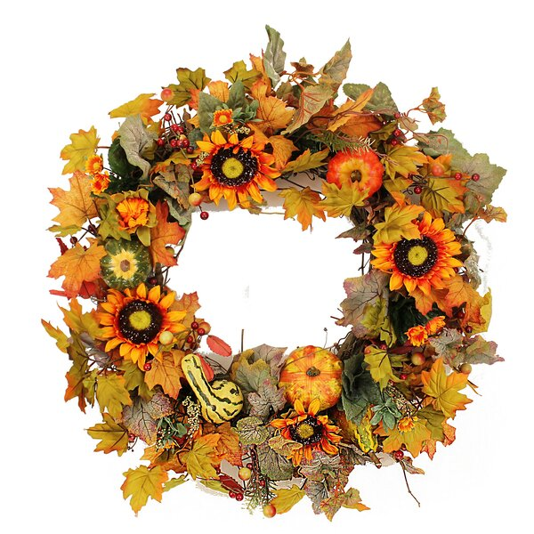 22 Pumpkin and Gourd Sunflower Wreath by The Holiday Aisle
