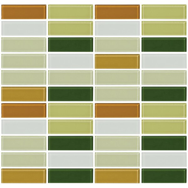 Signature Line Celery 1 x 3 Glass Subway Tile in Green/Brown/Gray by Susan Jablon