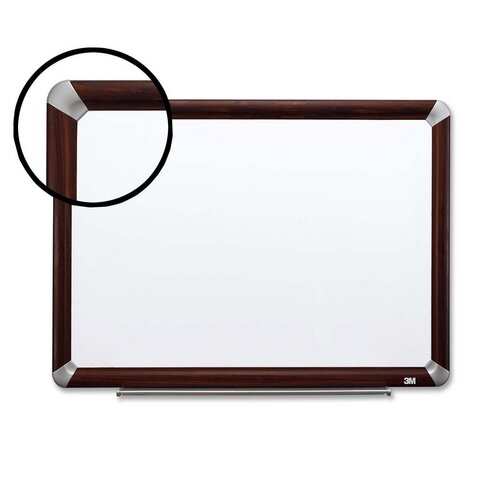 Dry-Erase w/Marker/Accessory Tray Mahogany Wall Mounted Whiteboard by 3M