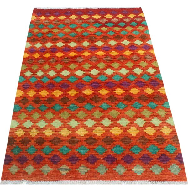 One-of-a-Kind Aalborg Kilim Hand-Woven Rust/Teal Area Rug by Isabelline