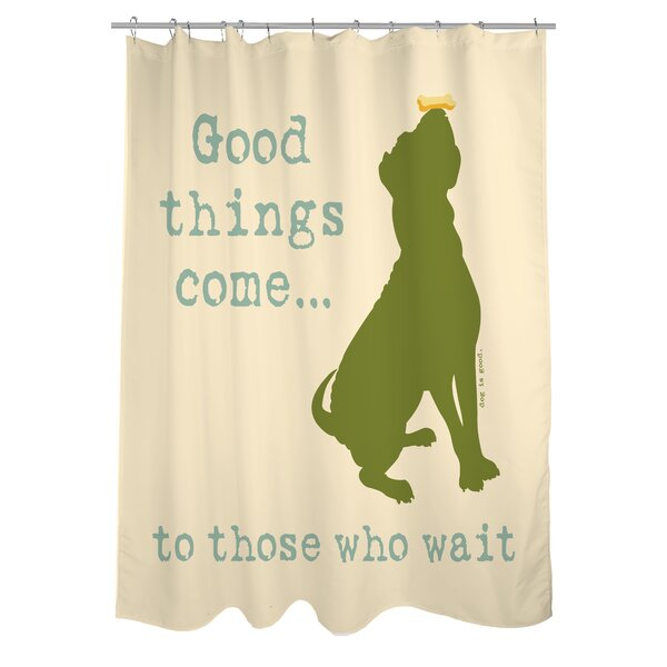 Doggy Decor Good Things Come Shower Curtain by One Bella Casa