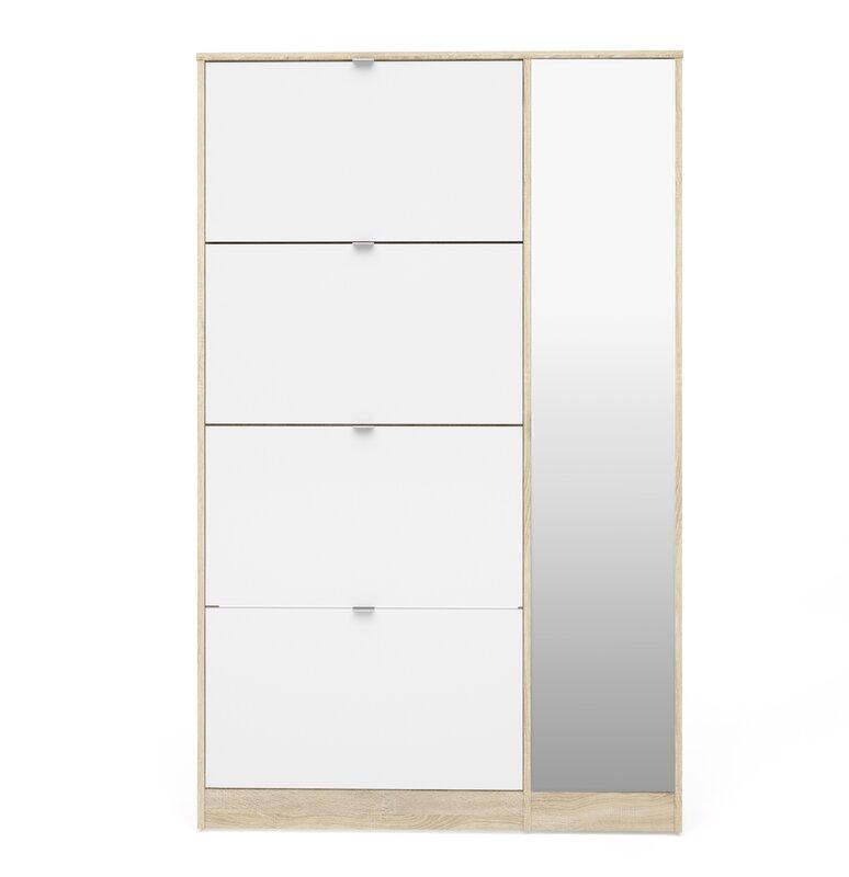 Bright 4 Flap Door and 1 Mirror Door 24 Pair Shoe Storage Cabinet  sc 1 st  Wayfair & Rebrilliant Bright 4 Flap Door and 1 Mirror Door 24 Pair Shoe ...