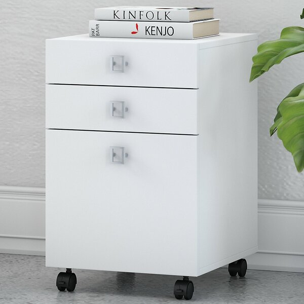 Echo 3-Drawer Mobile Vertical Filing Cabinet by Kathy Ireland Office by Bush