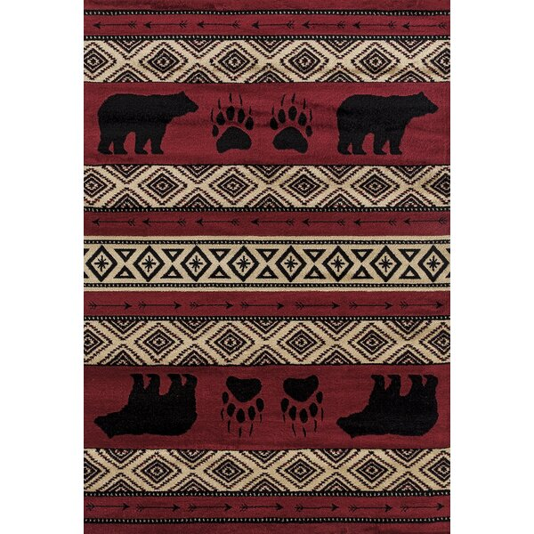 Pippen Bear Imprint Red/Beige/Black Area Rug by Loon Peak