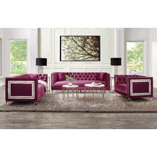 Gooden 3 Piece Velvet Configurable Living Room Set by Rosdorf Park