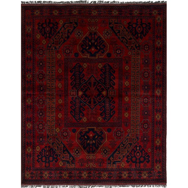 One-of-a-Kind Bilberry Traditional Hand-Knotted Wool Dark Red Area Rug by Bloomsbury Market