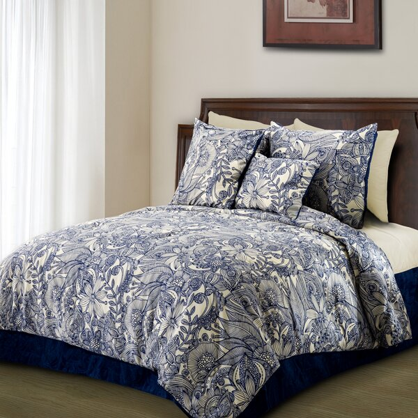 Flowers and Doodles Microfiber Duvet Cover Set by Valentina