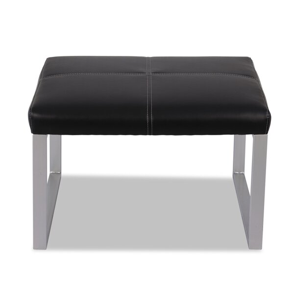 Barcia Leather Lounge Series Ottoman by Ebern Designs