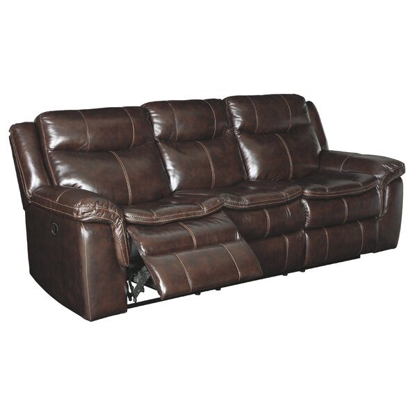 Beautiful Modern Dundee Leather Reclining Sofa by Millwood Pines by Millwood Pines