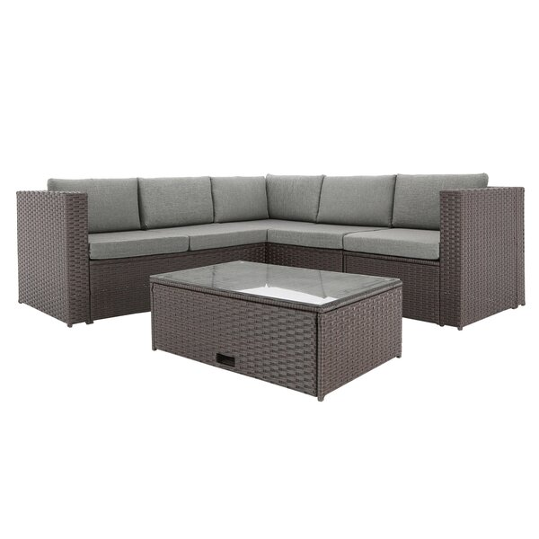 Roser Outdoor Complete 4 Piece Rattan Sectional Seating Group with Cushions by Orren Ellis