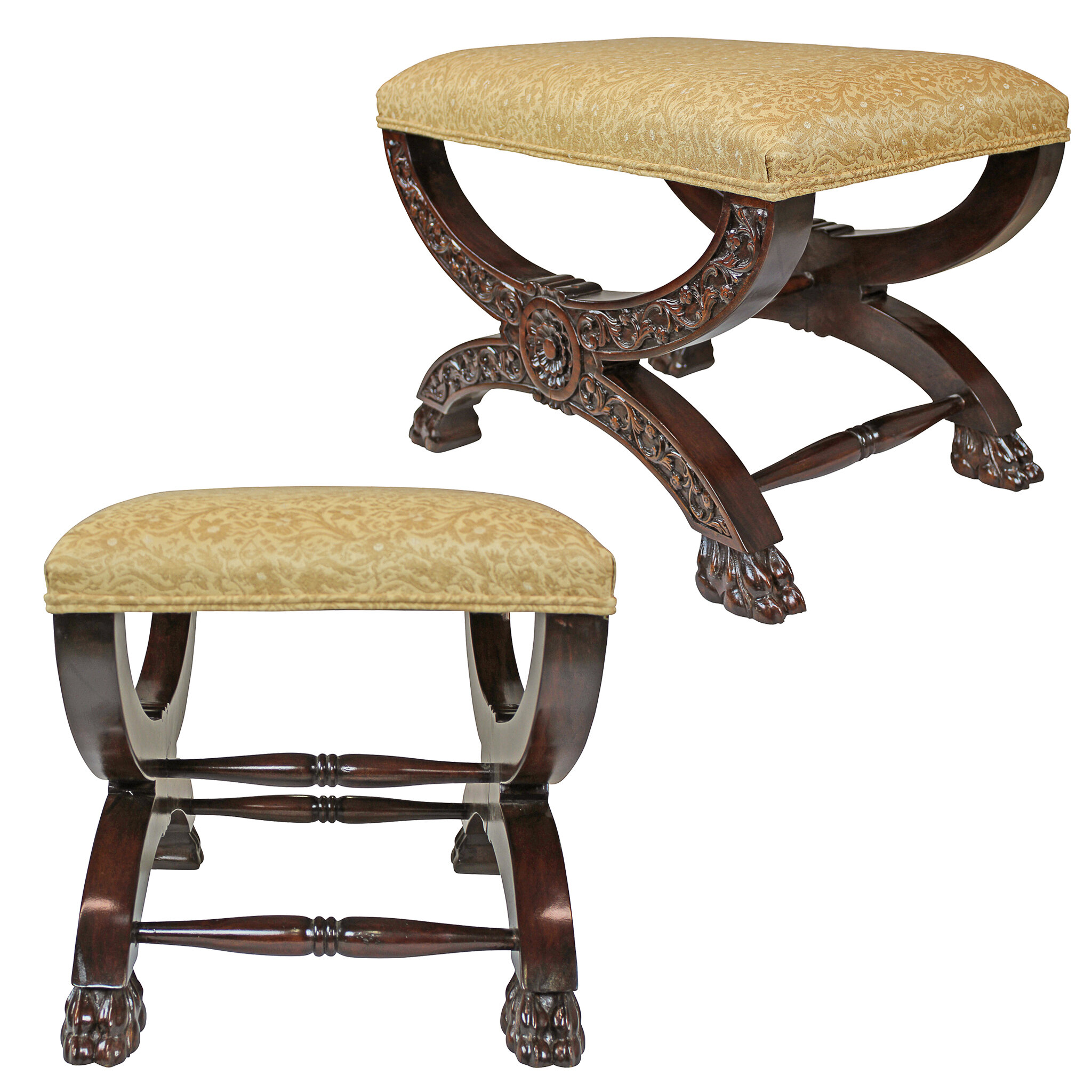 Magnificent Renaissance Curulis Ottoman Vanity Stool Andrewgaddart Wooden Chair Designs For Living Room Andrewgaddartcom