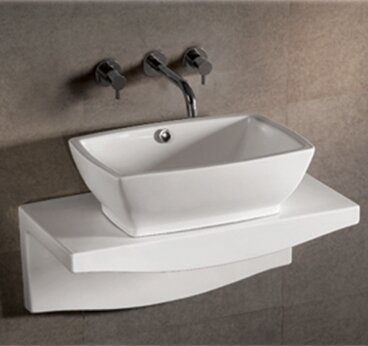 Isabella Rectangular Vessel Bathroom Sink with Overflow by Whitehaus Collection