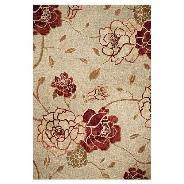 Freeport Burgundy/Beige Flora Indoor/Outdoor Area Rug by Charlton Home