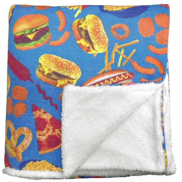 Junk Food Sherpa Lined Throw Blanket by Iscream