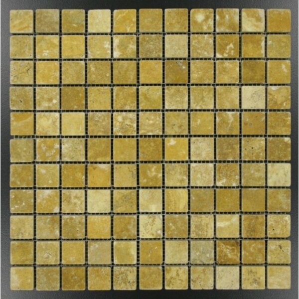 1 x 1 Travertine Mosaic Tile in Gold by Ephesus Stones