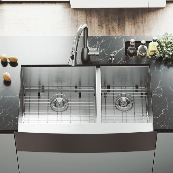 All in One 36 L x 22 W Double Basin Farmhouse Kitchen Sink with Faucet and Sink Grid by VIGO