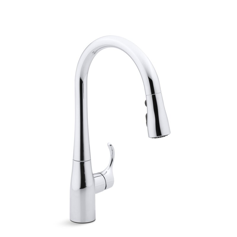 "kohler simplice single-hole kitchen sink faucet with 15-3/8"" pull"