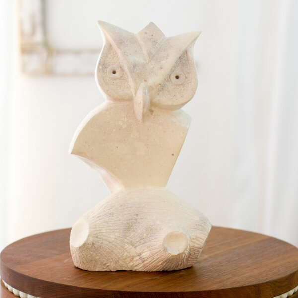Hand Carved Stone Owl Figurine by Novica