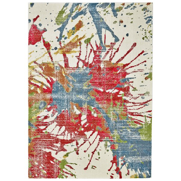 Logan Abstract Beige/Red/Blue Area Rug