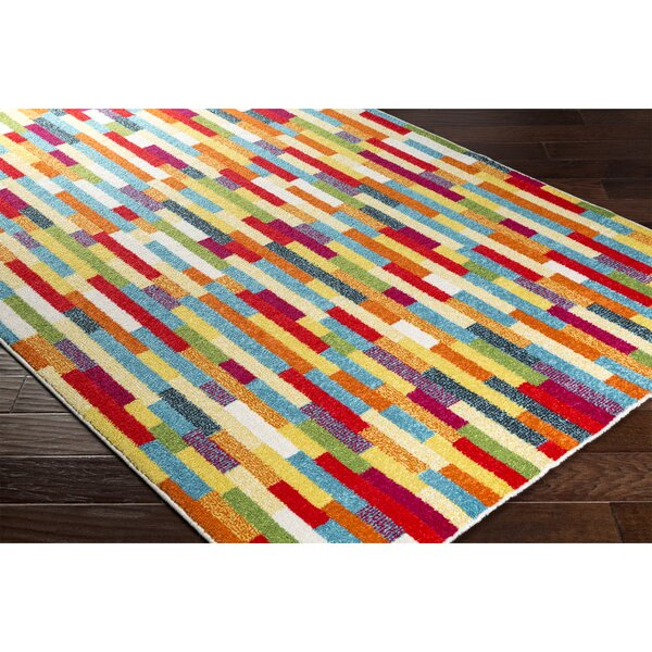 Dillsboro Rectangle Neutral/Red Area Rug by Ebern Designs