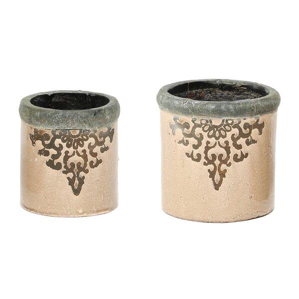 Cadia Round Filigree French 2-Piece Ceramic Pot Planter Set by Ophelia & Co.