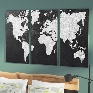 World map wall art gray map print multi piece on wrapped canvas gumiabroncs Choice Image