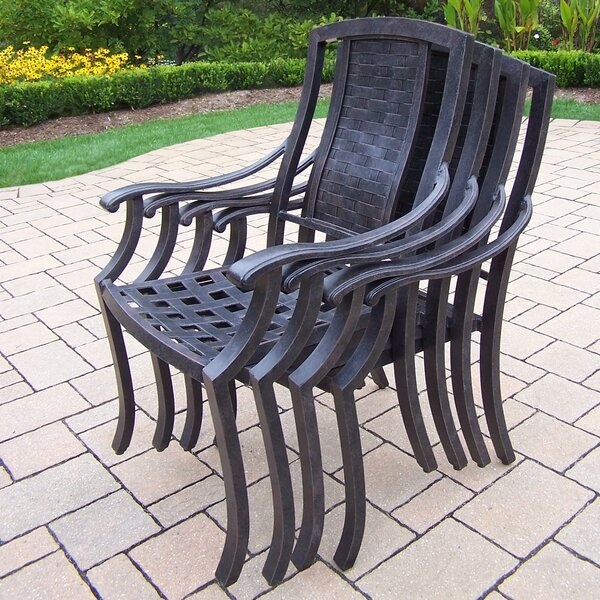 Zulema Stacking Patio Dining Chairs with Cushion (Set of 4) by Charlton Home