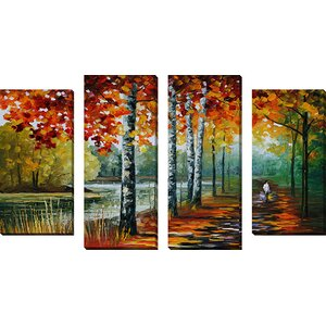 'By The Lake' by Leonid Afremov 4 Piece Painting Print on Wrapped Canvas Set by Picture Perfect International