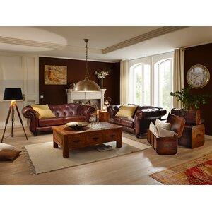 2-tlg. Couchgarnitur Chesterfield aus Echtleder von Massivum