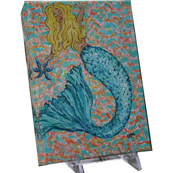 Huntsberry Blonde Mermaid Canvas Art by Rosecliff Heights