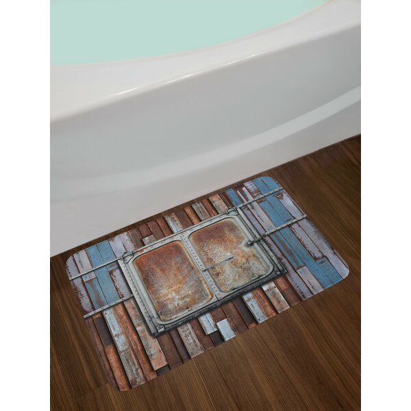 Marine Blue Brown and White Rustic Bath Rug by East Urban Home