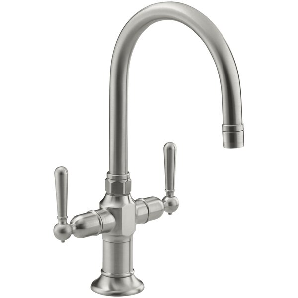 Hirisesingle-Hole Bar Sink Faucet with Lever Handles by Kohler
