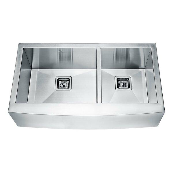 Elysian Series 32.88 L x 20.75 W Double Farmhouse Kitchen Sink by ANZZI