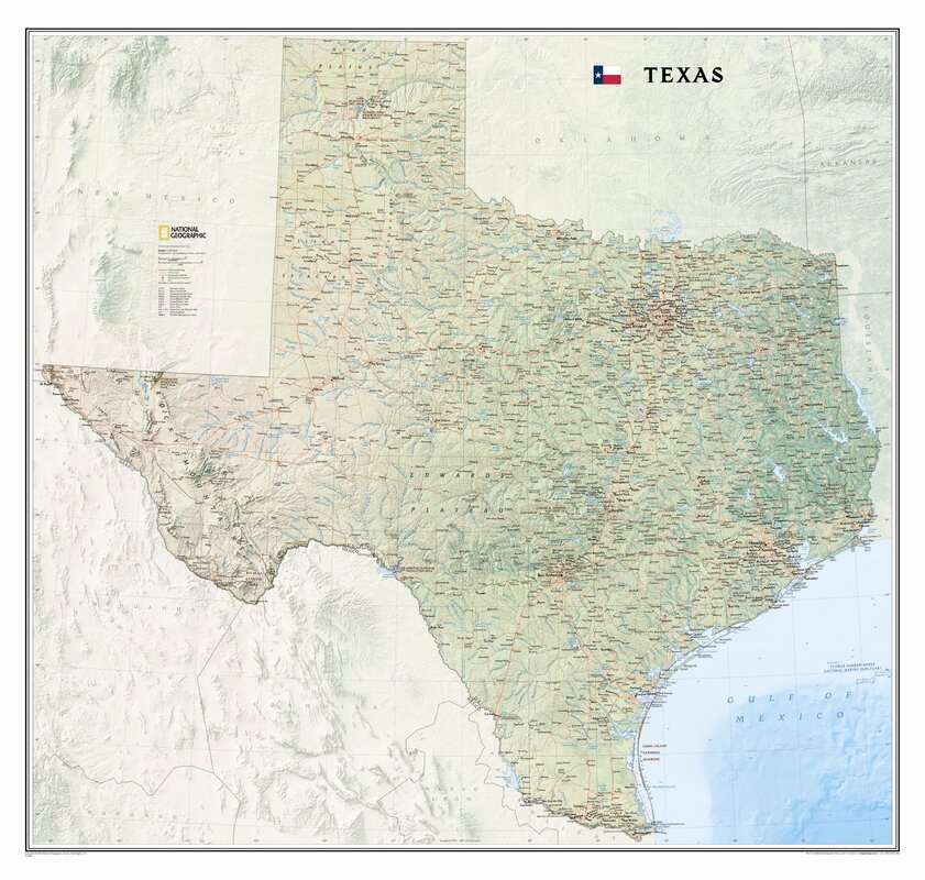 National Geographic Maps Texas State Wall Map Reviews Wayfair - Map of texas state