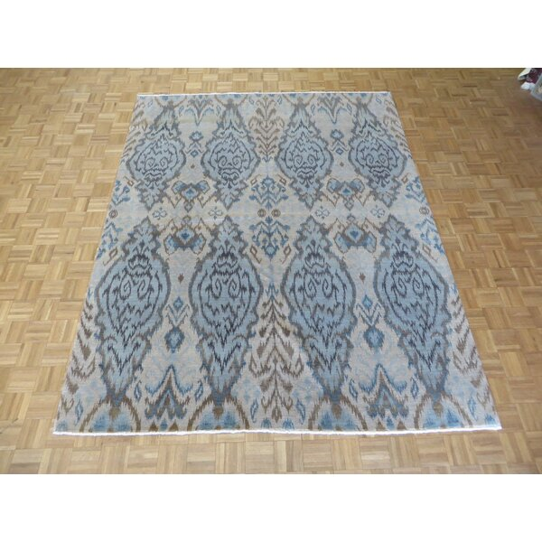 One-of-a-Kind Railsback Ikat Hand-Knotted Wool Aqua Blue Area Rug by Astoria Grand