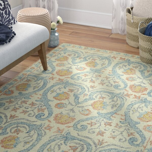 Locust Grove Hand-Tufted Beige/Blue Area Rug by Bungalow Rose