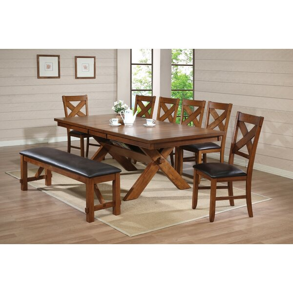 West Wick Extendable Solid Wood Dining Table by Millwood Pines Millwood Pines