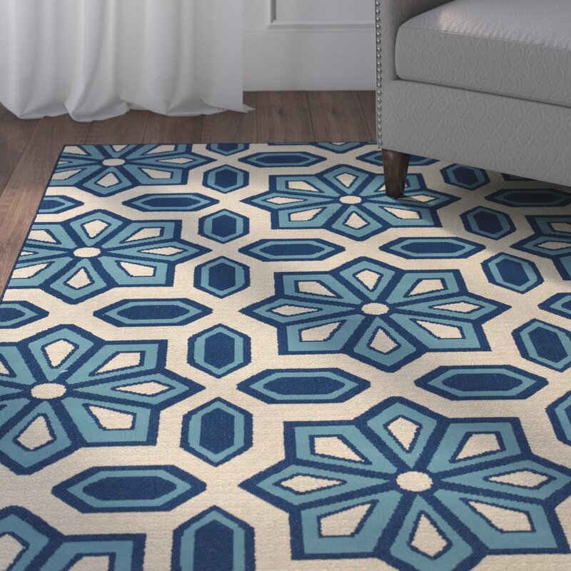Three Posts Eldridge Ivory/Blue Indoor/Outdoor Area Rug & Reviews ...