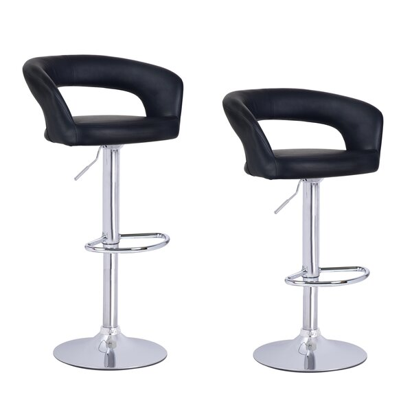 Hannum Adjustable Height Swivel Bar Stool (Set of 2) by Ebern Designs