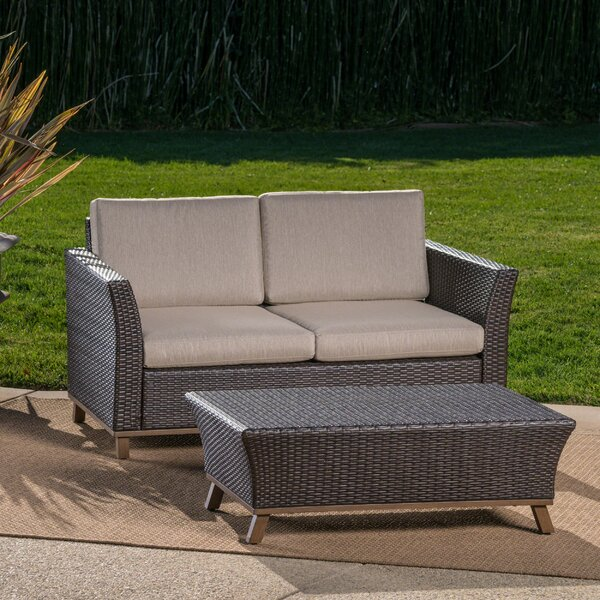 Chappelle Outdoor 2 Piece Aluminum Wicker Conversation Set With Cushions by George Oliver