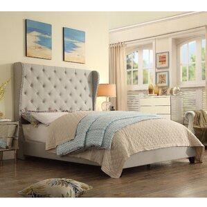 amir upholstered panel bed - Upholstered King Bed Frame
