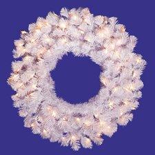 "24"" Lighted Artificial Crystal Christmas Wreath"